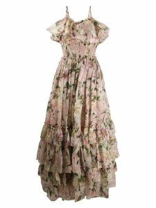 Dolce & Gabbana lily-print chiffon dress - NEUTRALS