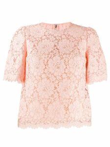 Dolce & Gabbana scalloped lace blouse - PINK