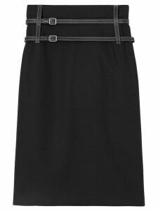 Burberry Leather Harness Detail Wool Pencil Skirt - Black