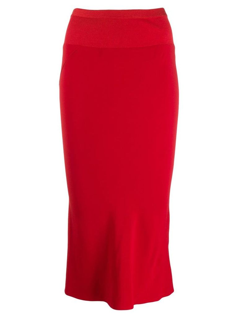 Rick Owens ribbed fitted skirt - Red