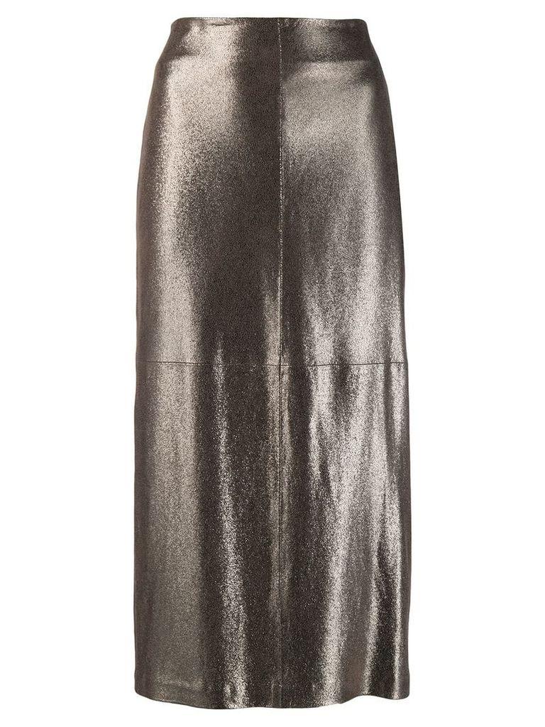 Brunello Cucinelli shimmer midi skirt - GOLD