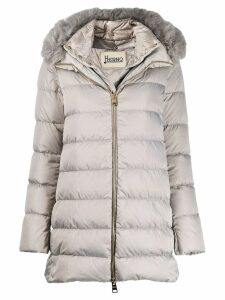 Herno fox fur trim puffer coat - Grey