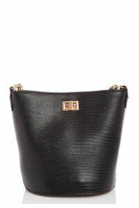Quiz Black Chain Strap Bucket Bag
