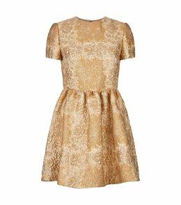 Floral Brocade Mini Dress