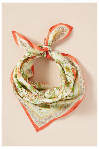 Floral-Print Silk Scarf - Red