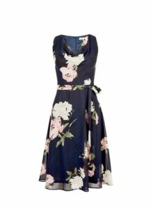 Womens **Billie & Blossom Petite Navy Floral Cowl Neck Midi Dress- Blue, Blue