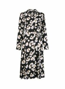 Womens Black Animal Print Midi Shirt Dress- Black, Black