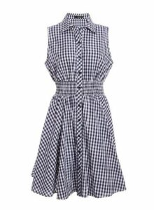 Womens *Quiz Multi Colour Gingham Button Front Skater Dress- Navy, Navy