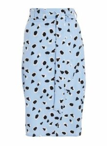 Womens *Quiz Blue Dalmatian Print Wrap Skirt- Blue, Blue