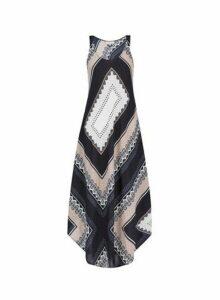 Womens **Billie & Blossom Scarf Print Crew Neck Maxi Dress- Black, Black