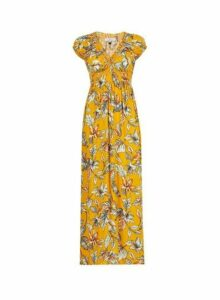 Womens **Billie & Blossom Yellow Floral Print Maxi Dress, Yellow