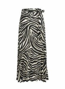 Womens **Tall Zebra Print Midi Skirt- Black, Black