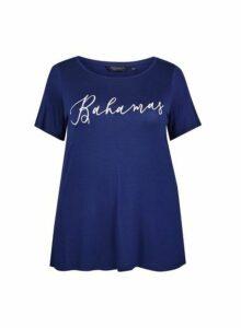 Womens **Dp Curve Navy Bahamas Motif T-Shirt- Blue, Blue