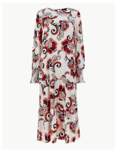 M&S Collection Shirred Cuff Relaxed Fit Midi Dress