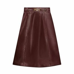Leather skirt with Interlocking G detail
