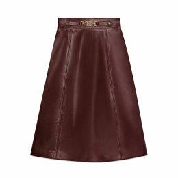 Leather skirt with Interlocking G detail