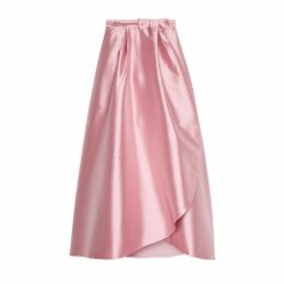 Silk wrap skirt with bow