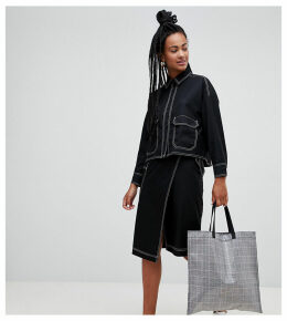 Monki cross front midi skirt in black with contrast stitching