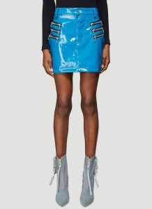 Unravel Project Latex Triple Zip Skirt in Blue size S