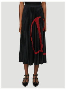Valentino Logo Print Pleated Skirt in Black size M