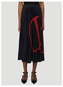 Valentino Logo Print Pleated Skirt in Black size S