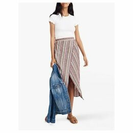Madewell Rainbow Stripe Wrap Skirt, Mulled Wine Smith Stripe