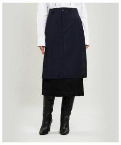 Twill Overlay Midi-Skirt