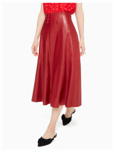 Leather Midi Skirt - Engine Red - 4 (Us 0)