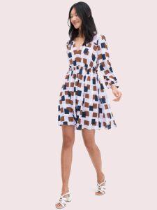 Geo Squares Mini Dress - Frozen Lilac - 4 (Us 0)