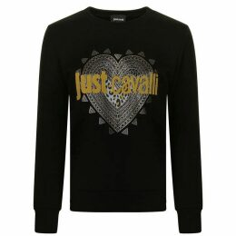 JUST CAVALLI Studded Heart Logo Sweatshirt