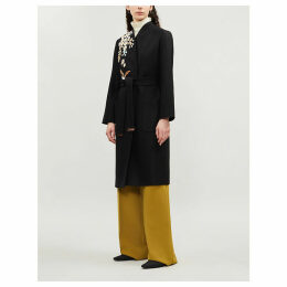 Graceful embroidered wool-blend coat