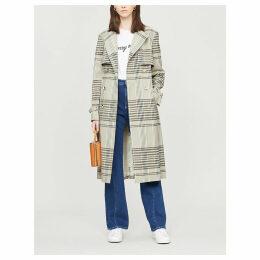 Cristta check woven trench coat