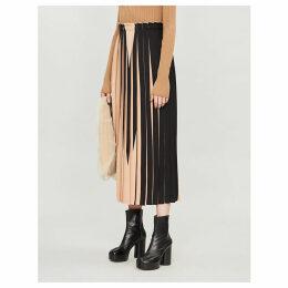 Abstract-print crepe pleated midi skirt