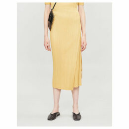 High-waist pleated woven midi skirt