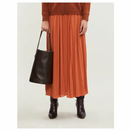 High-rise chiffon midi skirt