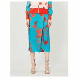 Fantasia satin wrap midi skirt