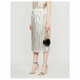 Ariiana metallic pleated crepe midi skirt