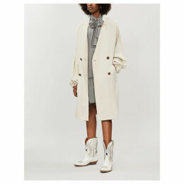 V-neck oversized double-breasted twill trench coat