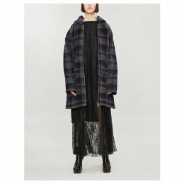 Checked hooded jersey coat