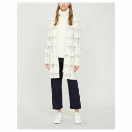 Checked woven coat