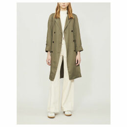 Maccs double-breasted woven trench coat
