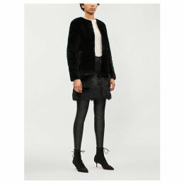 Contrast faux-fur shearling coat