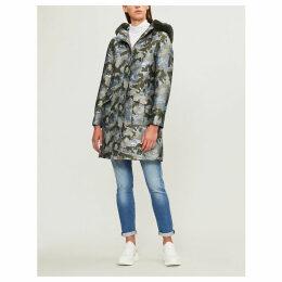 Eleanaa faux fur-trimmed camouflage-print shell coat