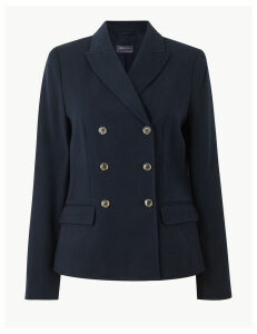 M&S Collection Double Breasted Blazer with Wool