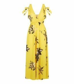 Cameo Rose Yellow Floral Bustier Midi Dress New Look