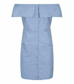 Urban Bliss Pale Blue Button Up Bardot Dress New Look
