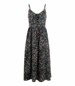 Black Ditsy Floral Print Tie Up Midi Dress New Look