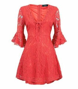 Petite Red Lace Frill Sleeve Skater Dress New Look