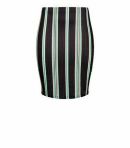Petite Black Stripe Ribbed Tube Skirt New Look