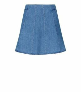 Blue Lightweight Denim Skater Skirt New Look